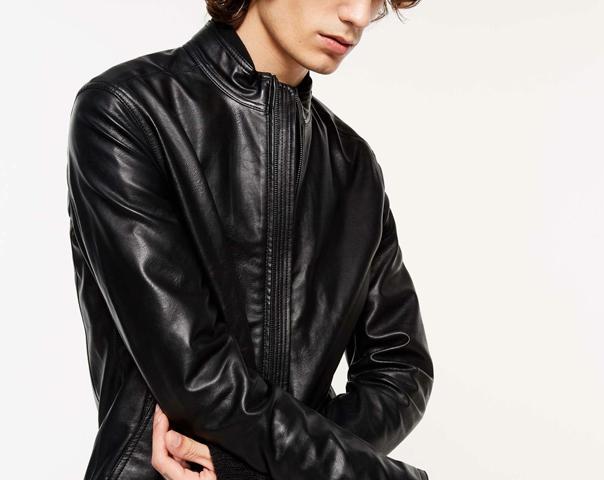 Biker jacket in imitation nappa leather