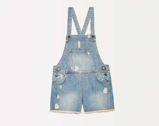 Cropped overalls with fringe
