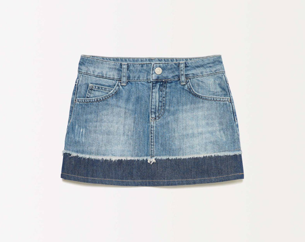 Fringed denim miniskirt