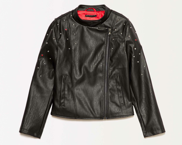 Jacket in imitation leather with studs and hearts